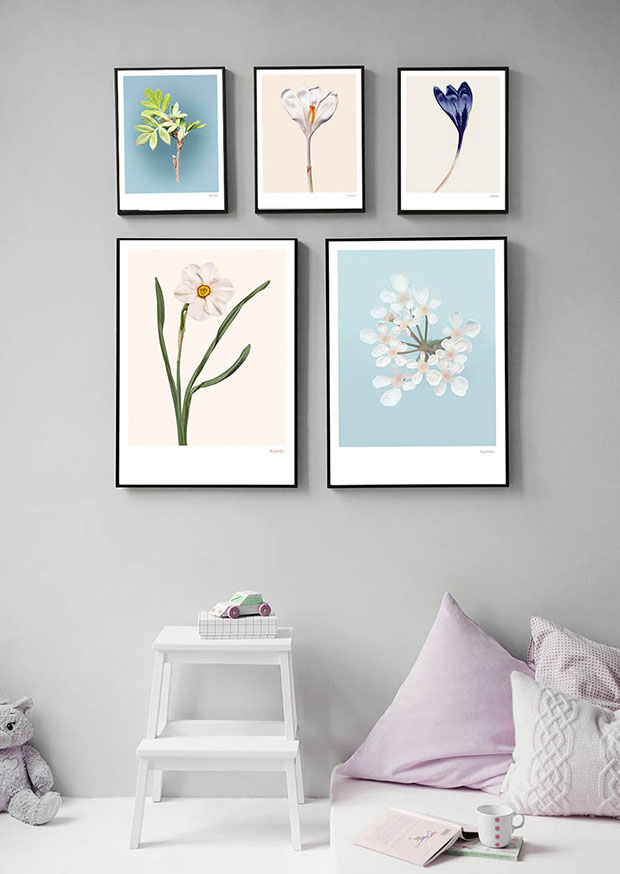 Narcis 02 in een muur collage van Fine Art prints